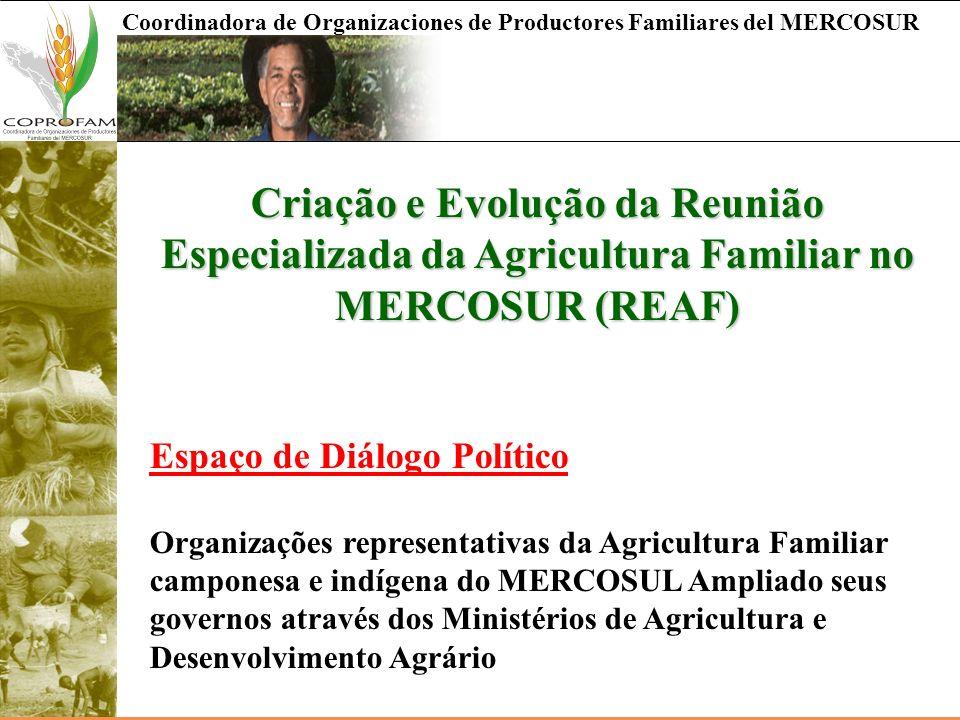 Coordinadora de Organizaciones de Productores Familiares del MERCOSUR Criação e Evolução da Reunião Especializada da Agricultura Familiar no MERCOSUR
