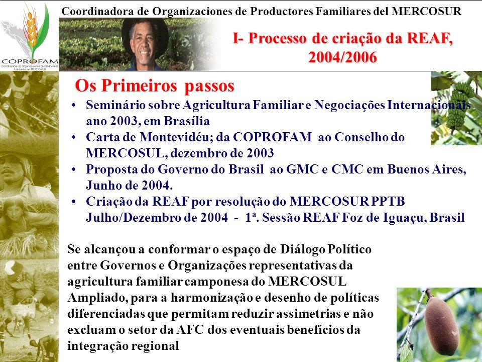 Coordinadora de Organizaciones de Productores Familiares del MERCOSUR I- Processo de criação da REAF, 2004/2006 Os Primeiros passos Seminário sobre Agricultura Familiar e Negociações Internacionais ano 2003, em Brasília Carta de Montevidéu; da COPROFAM ao Conselho do MERCOSUL, dezembro de 2003 Proposta do Governo do Brasil ao GMC e CMC em Buenos Aires, Junho de 2004.