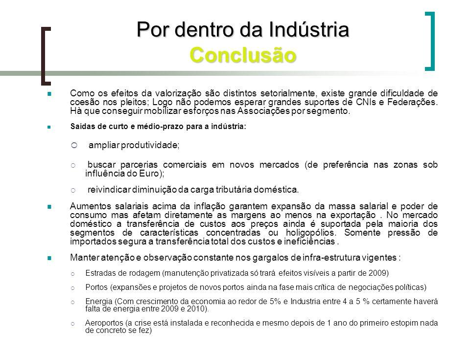 Por dentro da Indústria Conclusão Como os efeitos da valorização são distintos setorialmente, existe grande dificuldade de coesão nos pleitos; Logo nã