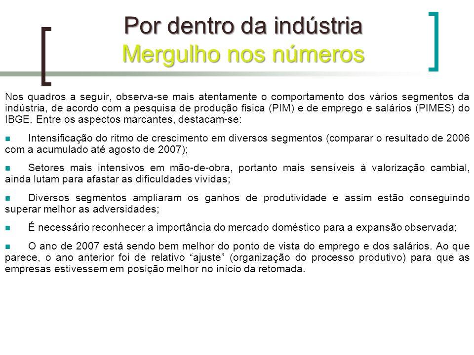 Nos quadros a seguir, observa-se mais atentamente o comportamento dos vários segmentos da indústria, de acordo com a pesquisa de produção fisica (PIM)