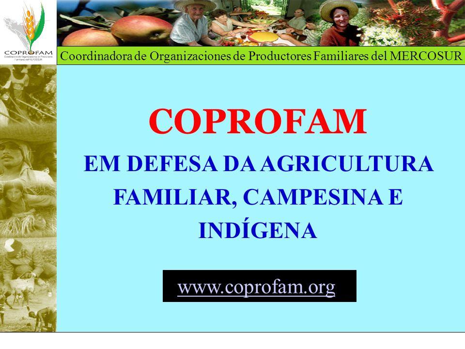 Coordinadora de Organizaciones de Productores Familiares del MERCOSUR A Coordenadora de Organizações de Produtores Familiares do MERCOSUL (COPROFAM): Foi criada em dezembro de 1994, em Porto Alegre Congrega 11 organizações de caráter nacional ou regional: Federação Agrária Argentina (FAA) Confederação Nacional de Trabajadores na Agricultura (CONTAG), Brasil Comissão Nacional de Fomento Rural (CNFR), Uruguai