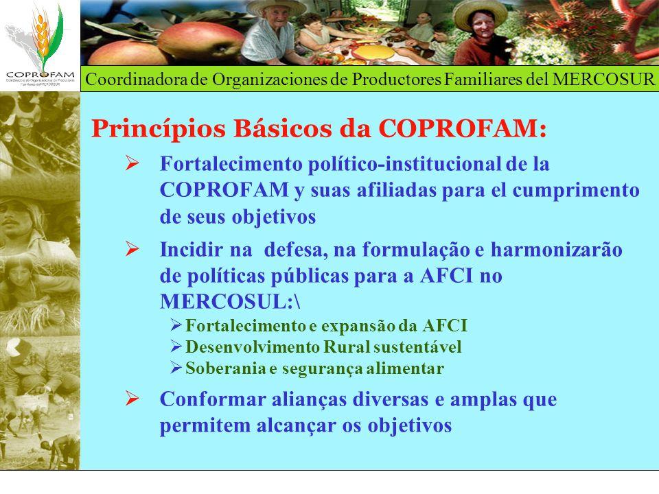 Coordinadora de Organizaciones de Productores Familiares del MERCOSUR Princípios Básicos da COPROFAM: Fortalecimento político-institucional de la COPR