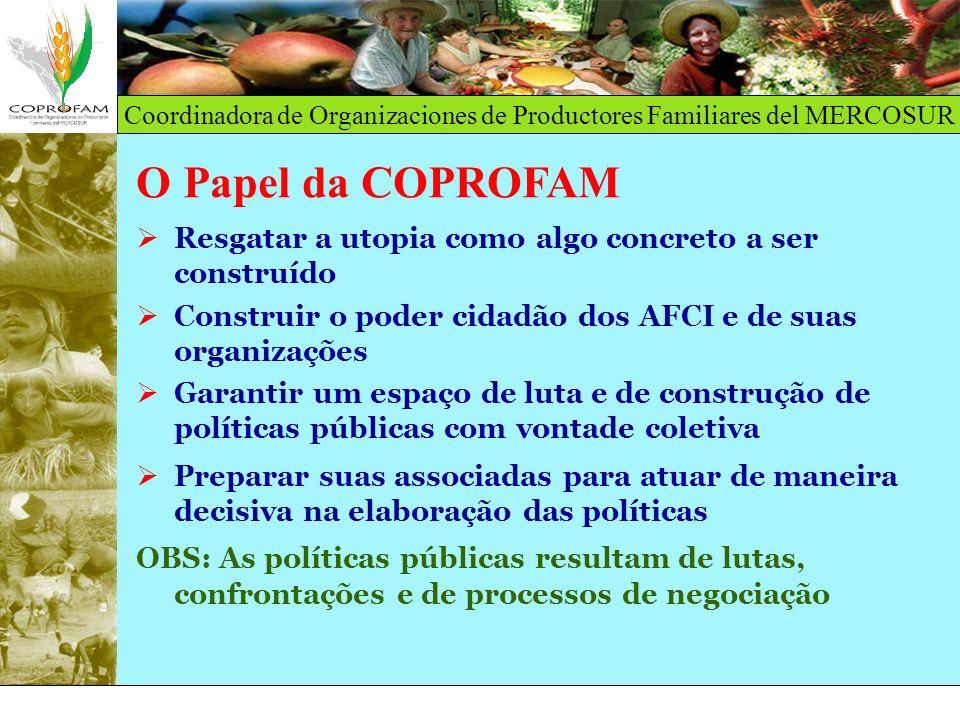Coordinadora de Organizaciones de Productores Familiares del MERCOSUR O Papel da COPROFAM Resgatar a utopia como algo concreto a ser construído Constr