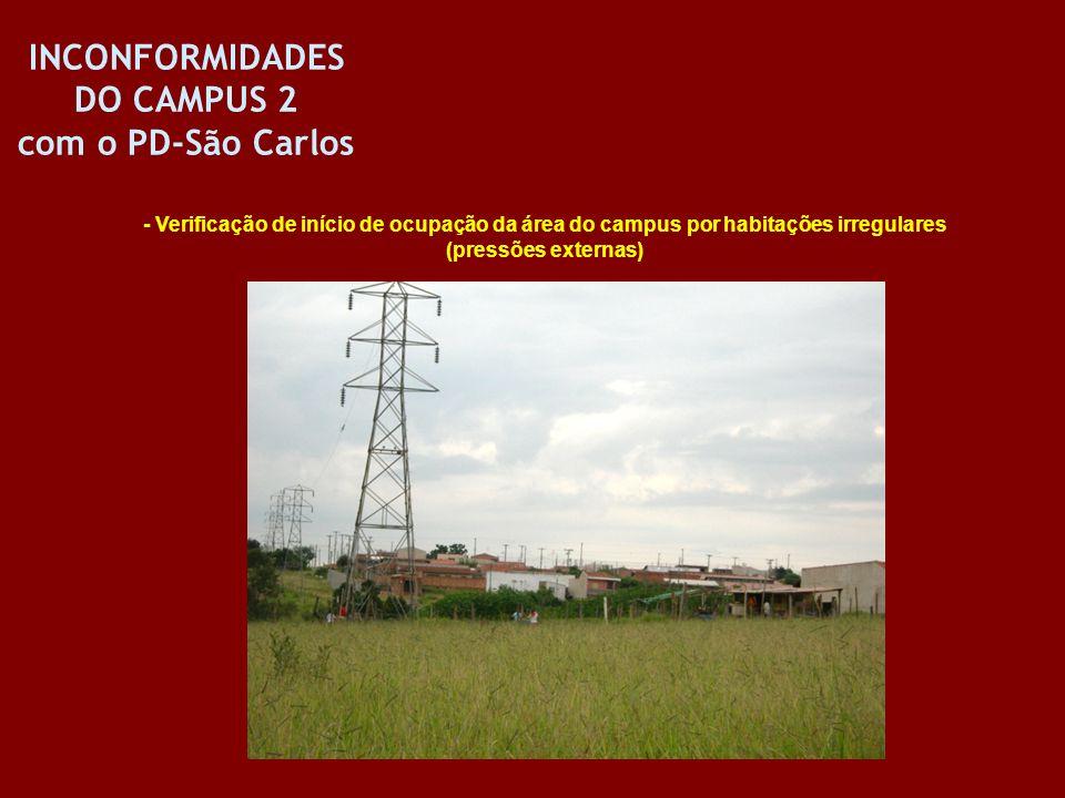 INCONFORMIDADES DO CAMPUS 2 com o PD-São Carlos - Verificação de início de ocupação da área do campus por habitações irregulares (pressões externas)