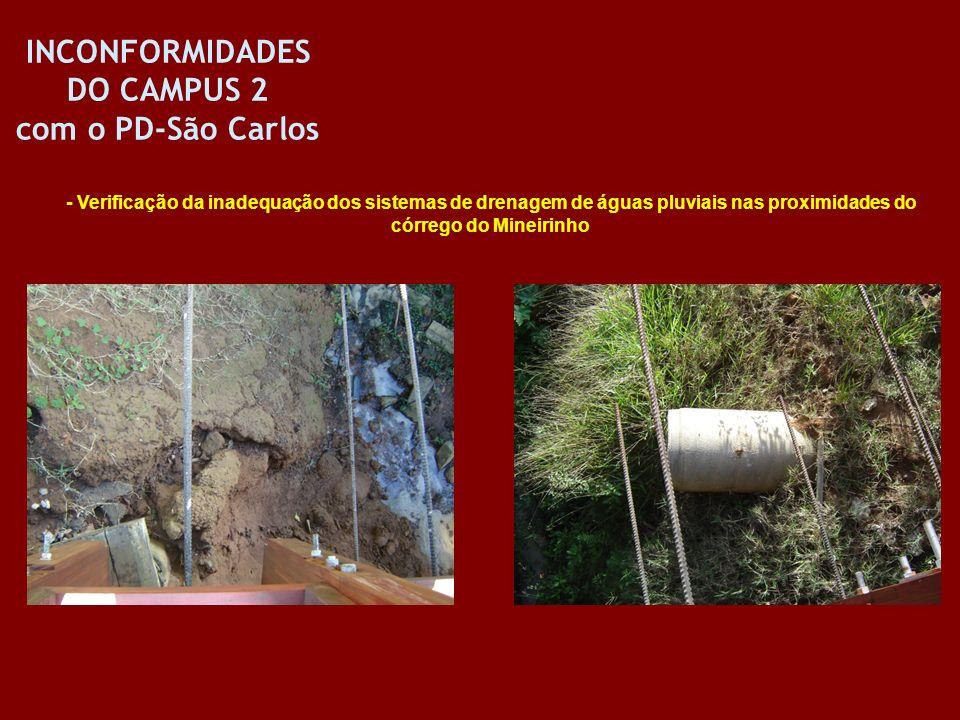 - Verificação da inadequação dos sistemas de drenagem de águas pluviais nas proximidades do córrego do Mineirinho INCONFORMIDADES DO CAMPUS 2 com o PD