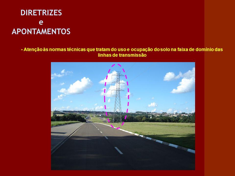 DIRETRIZES e APONTAMENTOS - Atenção às normas técnicas que tratam do uso e ocupação do solo na faixa de domínio das linhas de transmissão