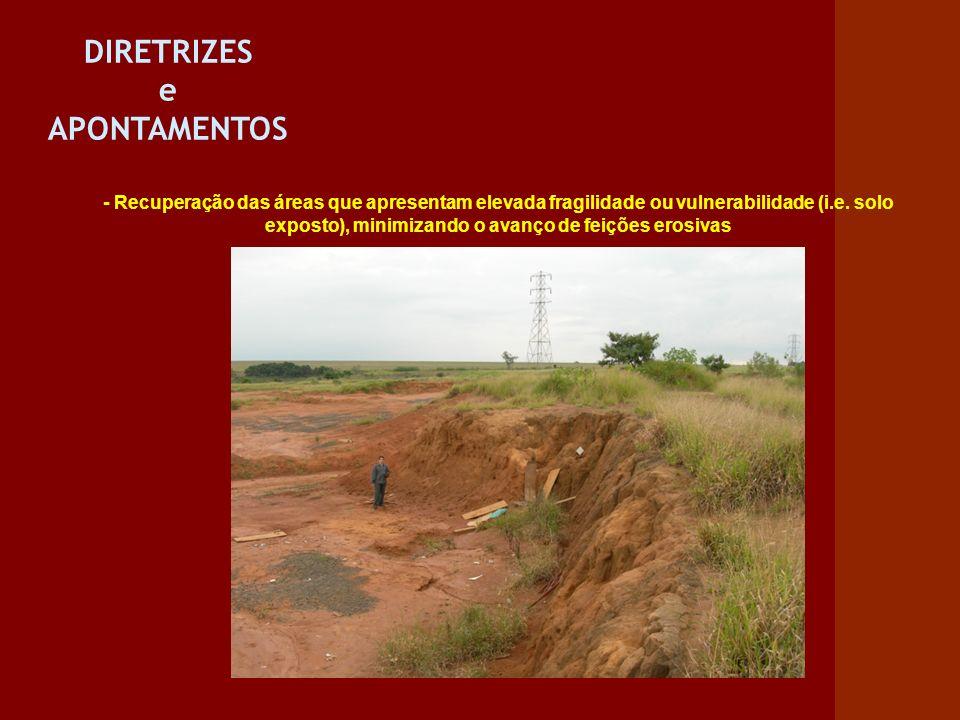 DIRETRIZES e APONTAMENTOS - Recuperação das áreas que apresentam elevada fragilidade ou vulnerabilidade (i.e. solo exposto), minimizando o avanço de f