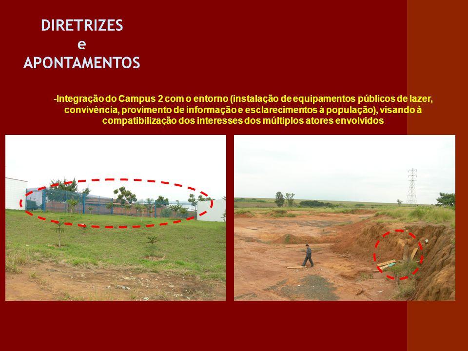 DIRETRIZES e APONTAMENTOS -Integração do Campus 2 com o entorno (instalação de equipamentos públicos de lazer, convivência, provimento de informação e