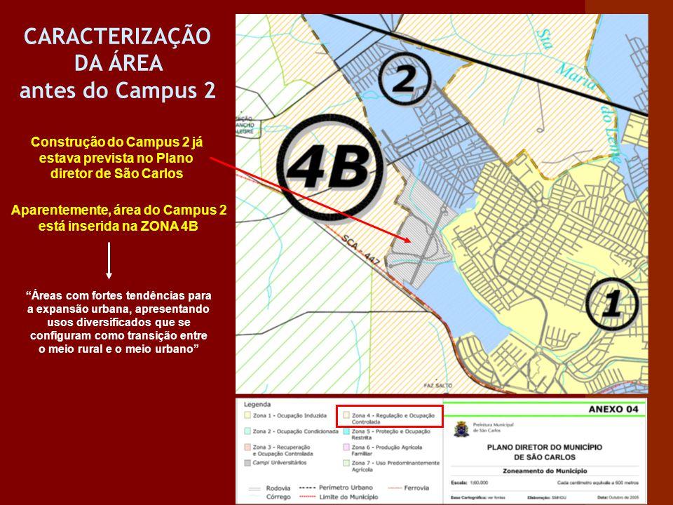 CARACTERIZAÇÃO DA ÁREA antes do Campus 2 Construção do Campus 2 já estava prevista no Plano diretor de São Carlos Aparentemente, área do Campus 2 está