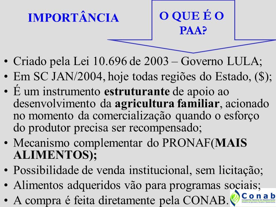OBJETIVOS REMUNERAÇÃO DA PRODUÇÃO – preço justo OCUPAÇÃO ESPAÇO RURAL – permanência campo DISTRIBUIÇÃO DE RENDA – economia local GERAÇÃO DE EMPREGOS – evita exôdo rural DIVERSIFICAÇÃO DA PRODUÇÃO – tds produtos AGREGAÇÃO DE VALOR – agroindústrias familiares COMBATE A FOME – destino para programas sociais CULTURA ALIMENTAR REGIONAL – qualidade PRESERVAÇÃO AMBIENTAL – prod orgânica +30% DESENVOLVIMENTO LOCAL – todos ganham PAA