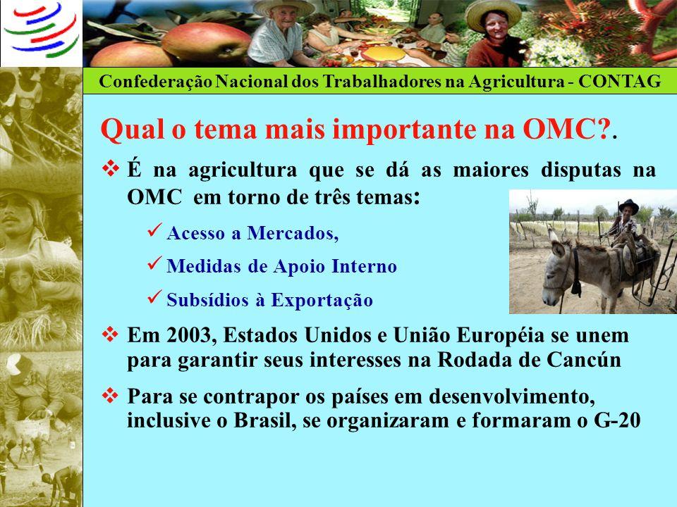 Confederação Nacional dos Trabalhadores na Agricultura - CONTAG Qual o tema mais importante na OMC?. É na agricultura que se dá as maiores disputas na