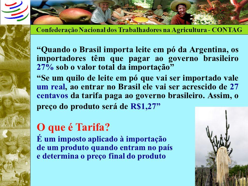 Confederação Nacional dos Trabalhadores na Agricultura - CONTAG Quando o Brasil importa leite em pó da Argentina, os importadores têm que pagar ao gov