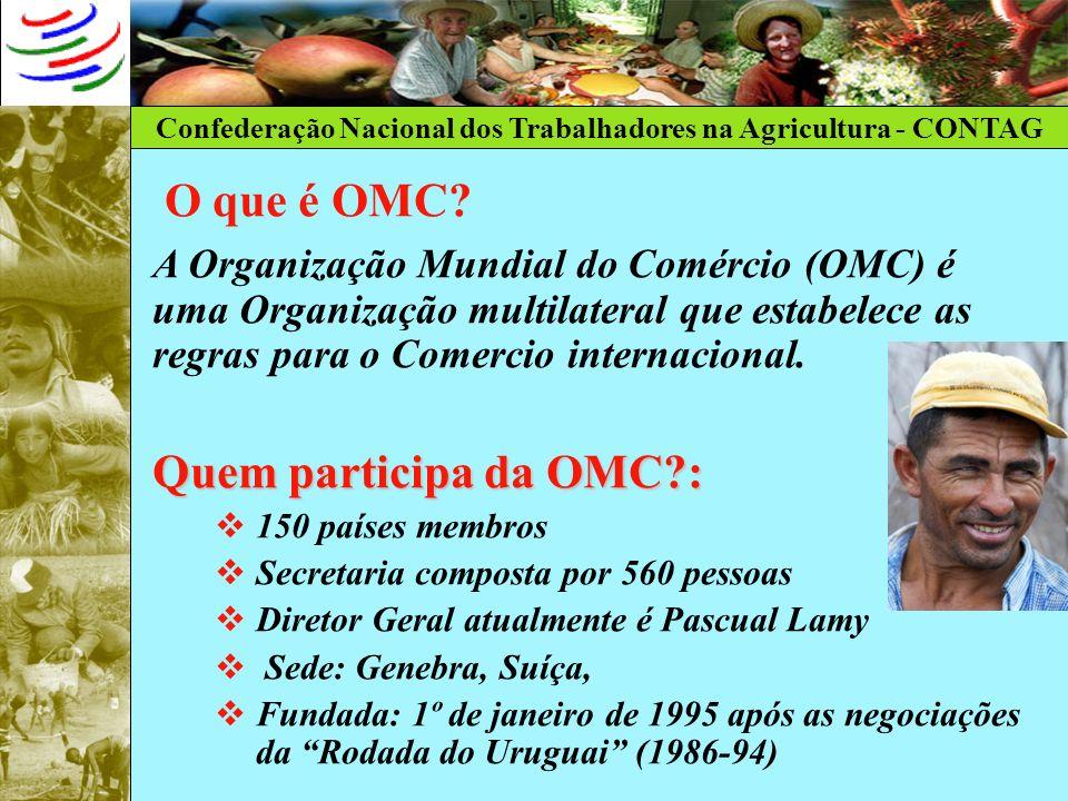 Confederação Nacional dos Trabalhadores na Agricultura - CONTAG O que é OMC? A Organização Mundial do Comércio (OMC) é uma Organização multilateral qu