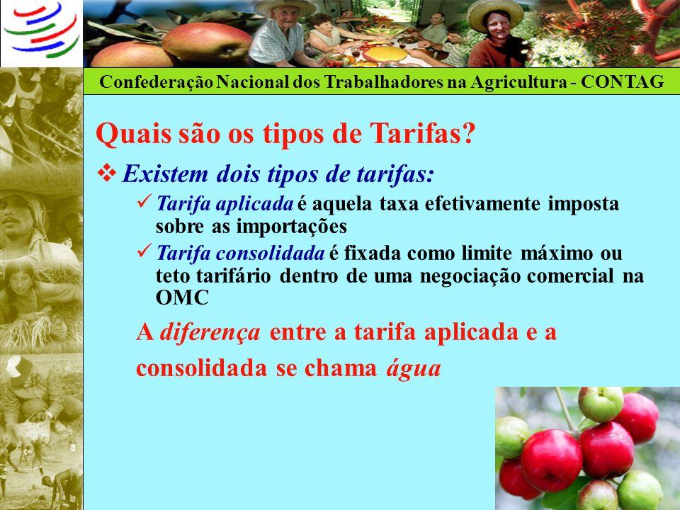 Confederação Nacional dos Trabalhadores na Agricultura - CONTAG Quais são os tipos de Tarifas? Existem dois tipos de tarifas: Tarifa aplicada é aquela