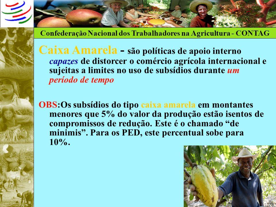 Confederação Nacional dos Trabalhadores na Agricultura - CONTAG Caixa Amarela - são políticas de apoio interno capazes de distorcer o comércio agrícol