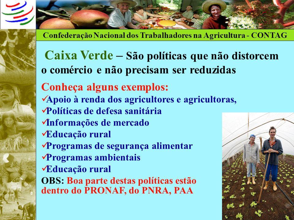 Confederação Nacional dos Trabalhadores na Agricultura - CONTAG Caixa Verde – São políticas que não distorcem o comércio e não precisam ser reduzidas