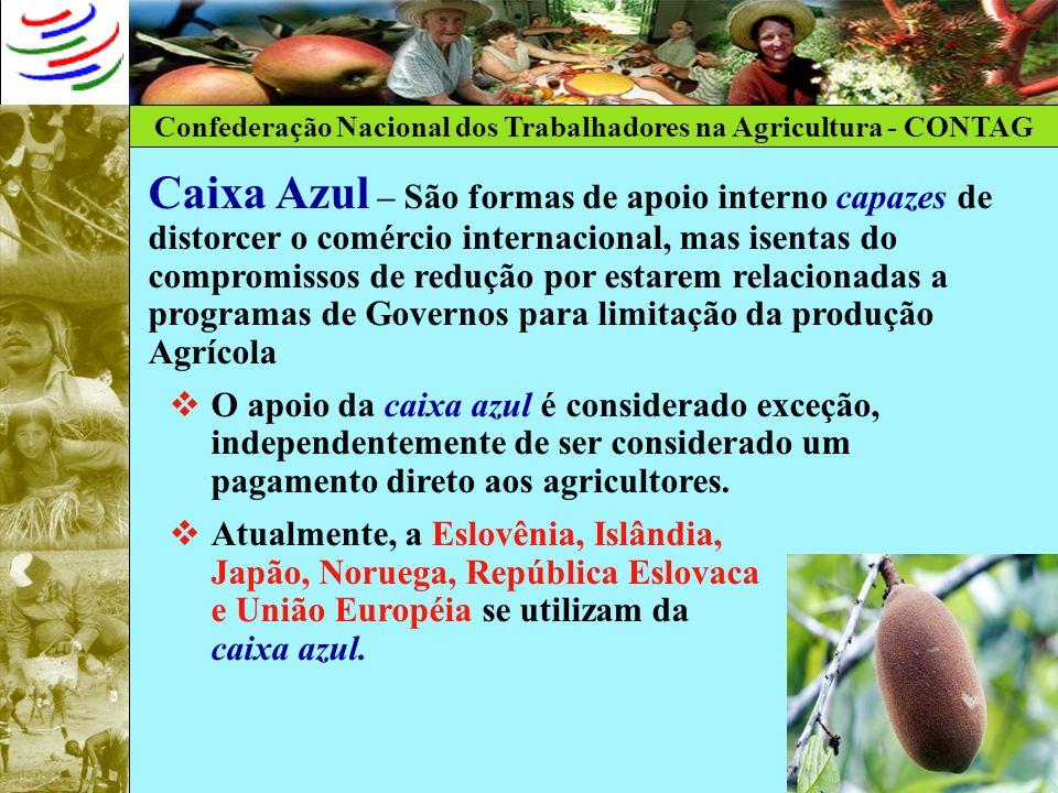 Confederação Nacional dos Trabalhadores na Agricultura - CONTAG Caixa Azul – São formas de apoio interno capazes de distorcer o comércio internacional