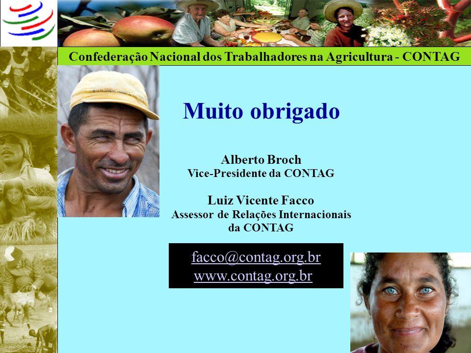 Confederação Nacional dos Trabalhadores na Agricultura - CONTAG Muito obrigado Alberto Broch Vice-Presidente da CONTAG Luiz Vicente Facco Assessor de