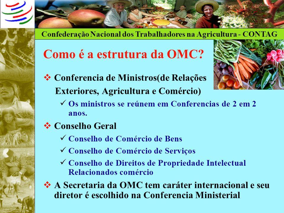 Confederação Nacional dos Trabalhadores na Agricultura - CONTAG Como é a estrutura da OMC? Conferencia de Ministros(de Relações Exteriores, Agricultur