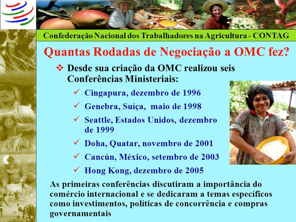 Confederação Nacional dos Trabalhadores na Agricultura - CONTAG Quantas Rodadas de Negociação a OMC fez? Desde sua criação da OMC realizou seis Confer