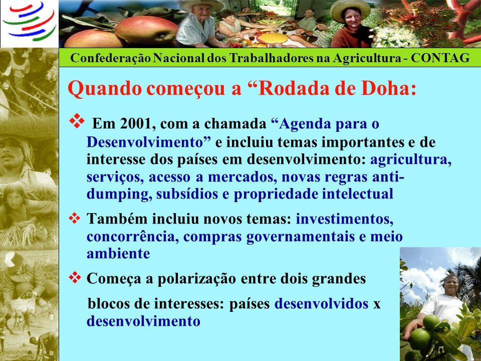 Confederação Nacional dos Trabalhadores na Agricultura - CONTAG Quando começou a Rodada de Doha: Em 2001, com a chamada Agenda para o Desenvolvimento