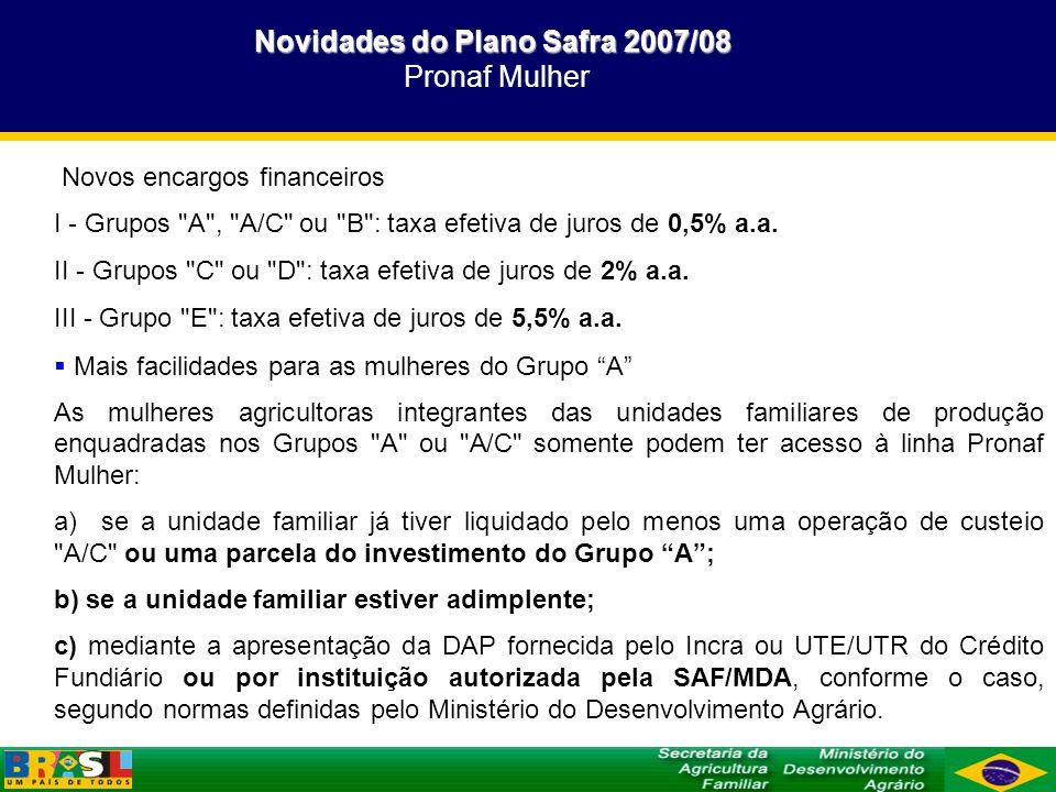 Novidades do Plano Safra 2007/08 Novidades do Plano Safra 2007/08 Pronaf Mulher Novos encargos financeiros I - Grupos