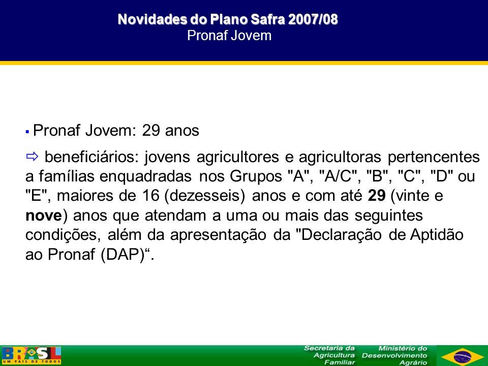 Novidades do Plano Safra 2007/08 Novidades do Plano Safra 2007/08 Pronaf Jovem Pronaf Jovem: 29 anos beneficiários: jovens agricultores e agricultoras