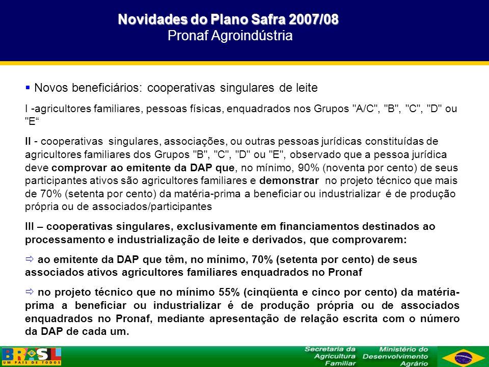 Novidades do Plano Safra 2007/08 Novidades do Plano Safra 2007/08 Pronaf ECO Inserir nova seção de número 16 no capítulo 10 do MCR: Pronaf ECO Prazo de reembolso: I – para os incisos I, II, III e IV da alínea b deste item, até 8 (oito) anos, incluídos até 3 (três) anos de carência, a qual poderá ser ampliada para até 5 (cinco) anos quando a atividade assistida requerer esse prazo e o projeto técnico ou a proposta de crédito comprovar a sua necessidade; II – para o inciso V da alínea b deste item, até 12 (doze) anos, incluídos até 8 (oito) anos de carência, podendo o prazo da operação ser elevado, no caso de recursos dos Fundos Constitucionais de Financiamento do Norte (FNO), Nordeste (FNE) e Centro-Oeste (FCO), para até 16 (dezesseis) anos, quando a atividade assistida requerer esse prazo e o projeto técnico ou a proposta de crédito comprovar a sua necessidade, de acordo com o retorno financeiro da atividade assistida.