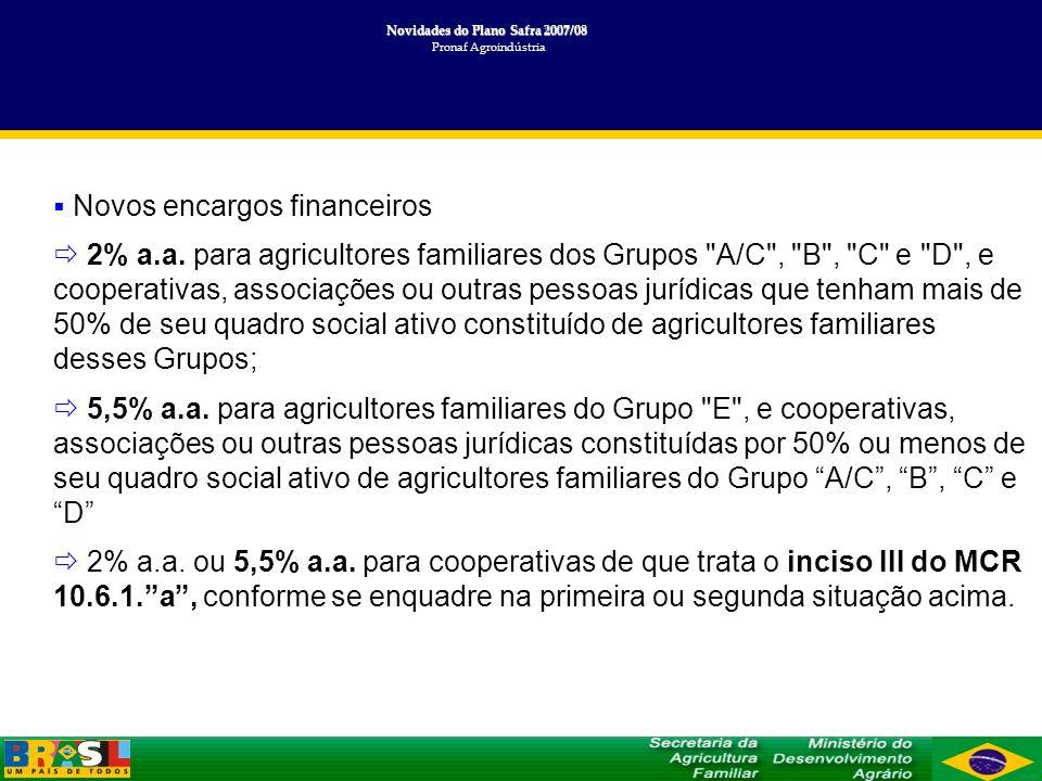 Novidades do Plano Safra 2007/08 Novidades do Plano Safra 2007/08 Pronaf Agroindústria Novos encargos financeiros 2% a.a. para agricultores familiares