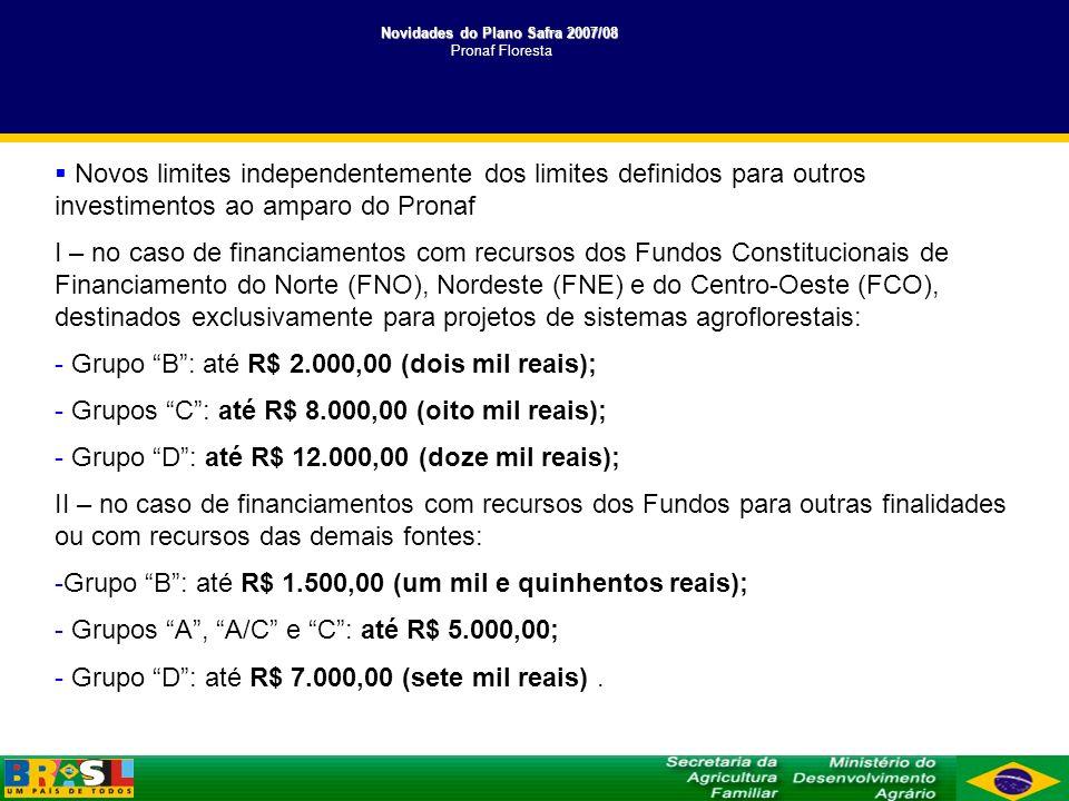 Novidades do Plano Safra 2007/08 Novidades do Plano Safra 2007/08 Pronaf Mulher Novos encargos financeiros I - Grupos A , A/C ou B : taxa efetiva de juros de 0,5% a.a.