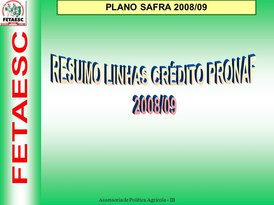 Assessoria de Política Agrícola - IB PLANO SAFRA 2008/09