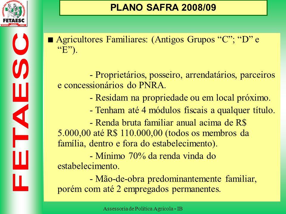 Assessoria de Política Agrícola - IB PLANO SAFRA 2008/09 Agricultores Familiares: (Antigos Grupos C; D e E).