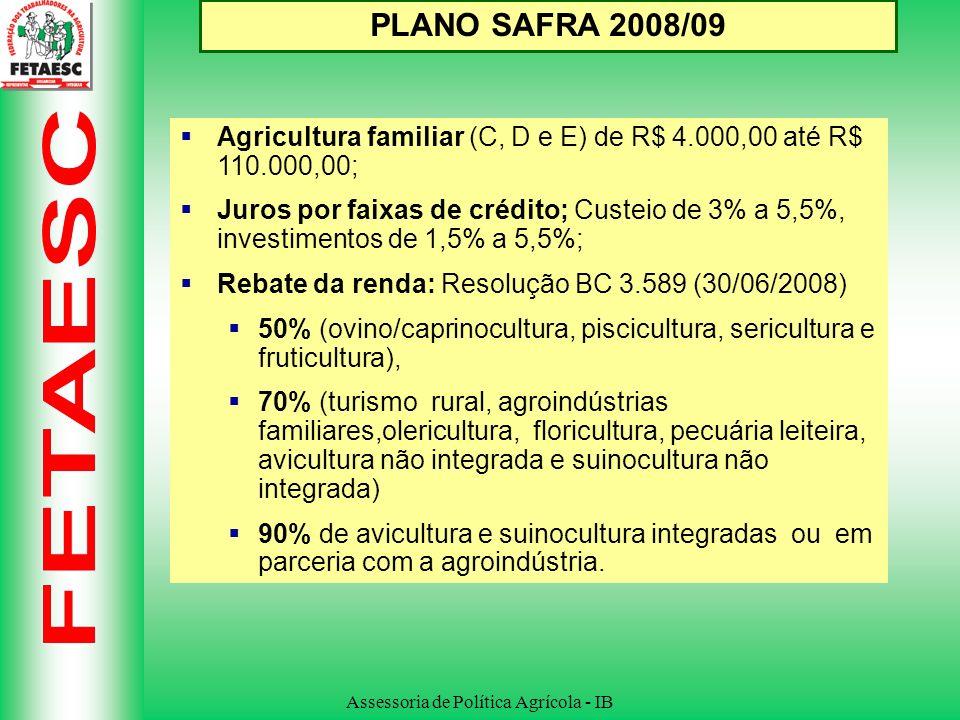 Assessoria de Política Agrícola - IB PLANO SAFRA 2008/09 Agricultura familiar (C, D e E) de R$ 4.000,00 até R$ 110.000,00; Juros por faixas de crédito; Custeio de 3% a 5,5%, investimentos de 1,5% a 5,5%; Rebate da renda: Resolução BC 3.589 (30/06/2008) 50% (ovino/caprinocultura, piscicultura, sericultura e fruticultura), 70% (turismo rural, agroindústrias familiares,olericultura, floricultura, pecuária leiteira, avicultura não integrada e suinocultura não integrada) 90% de avicultura e suinocultura integradas ou em parceria com a agroindústria.