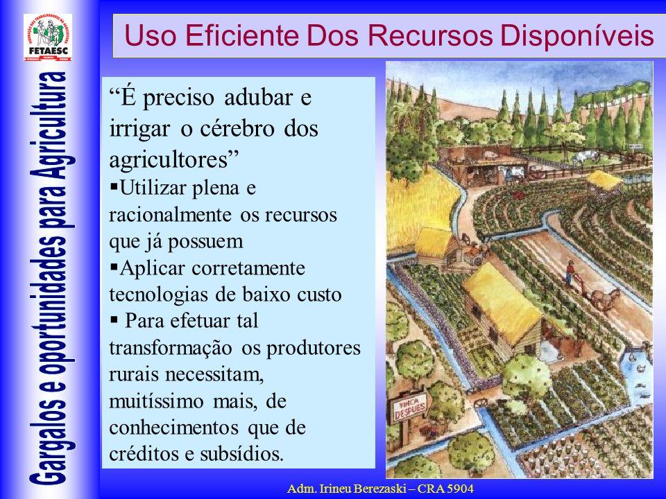 Adm. Irineu Berezaski – CRA 5904 Uso Eficiente Dos Recursos Disponíveis É preciso adubar e irrigar o cérebro dos agricultores Utilizar plena e raciona
