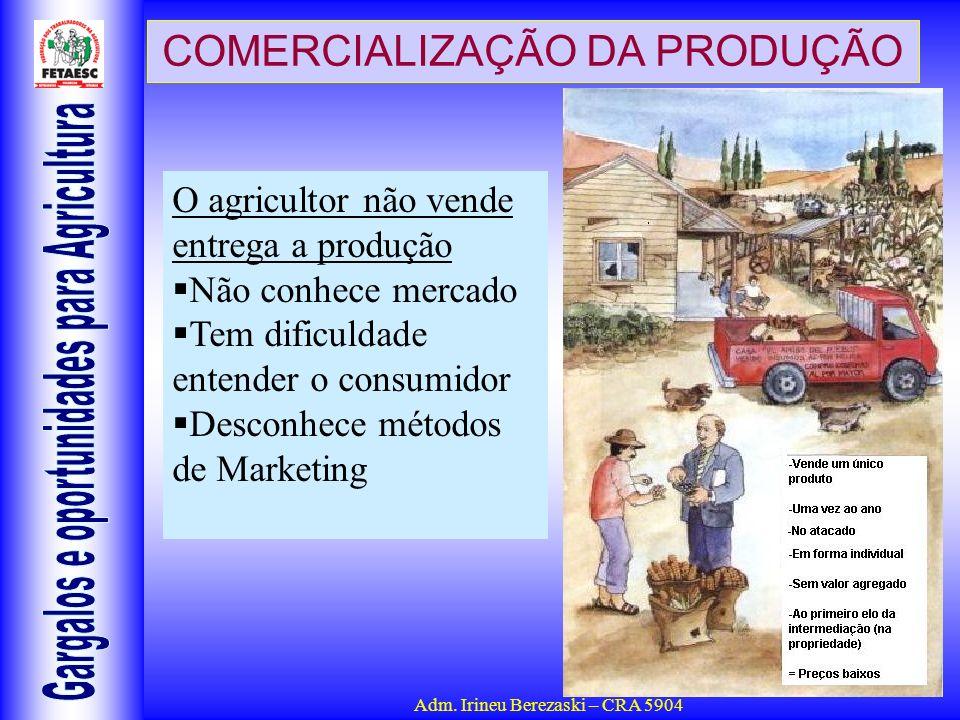 Adm. Irineu Berezaski – CRA 5904 COMERCIALIZAÇÃO DA PRODUÇÃO O agricultor não vende entrega a produção Não conhece mercado Tem dificuldade entender o