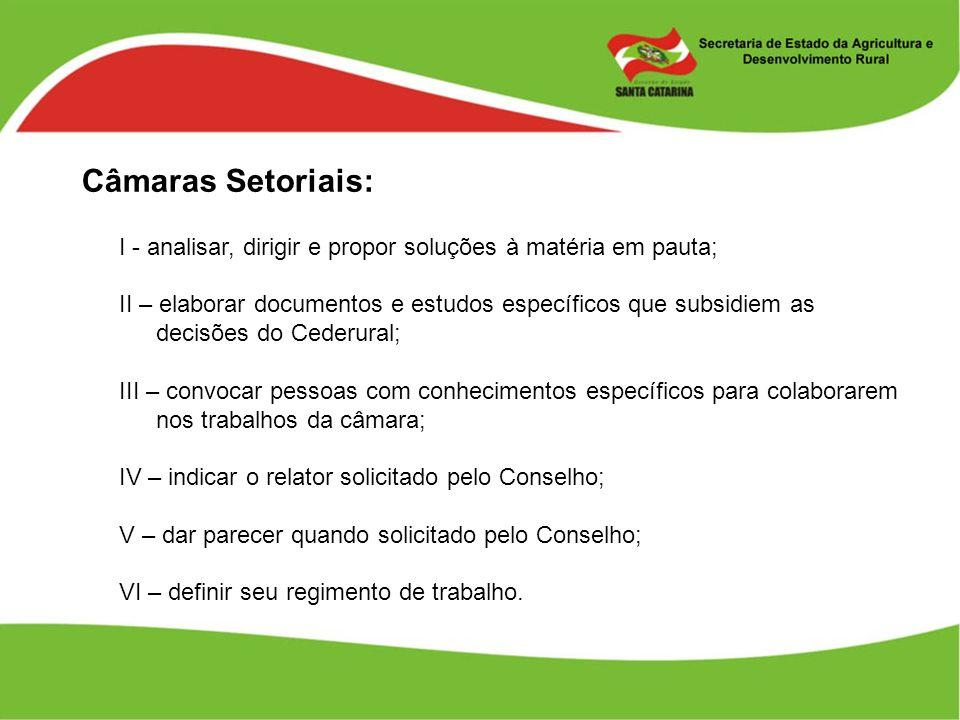 Câmaras Setoriais: I - analisar, dirigir e propor soluções à matéria em pauta; II – elaborar documentos e estudos específicos que subsidiem as decisõe