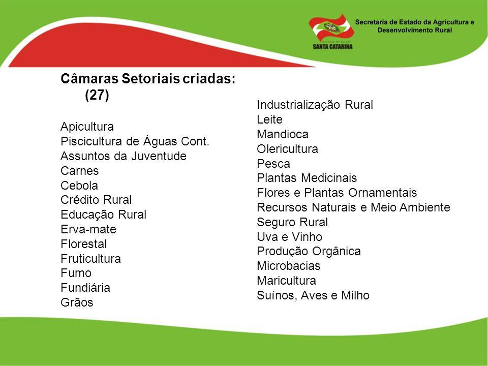 Câmaras Setoriais criadas: (27) Apicultura Piscicultura de Águas Cont. Assuntos da Juventude Carnes Cebola Crédito Rural Educação Rural Erva-mate Flor