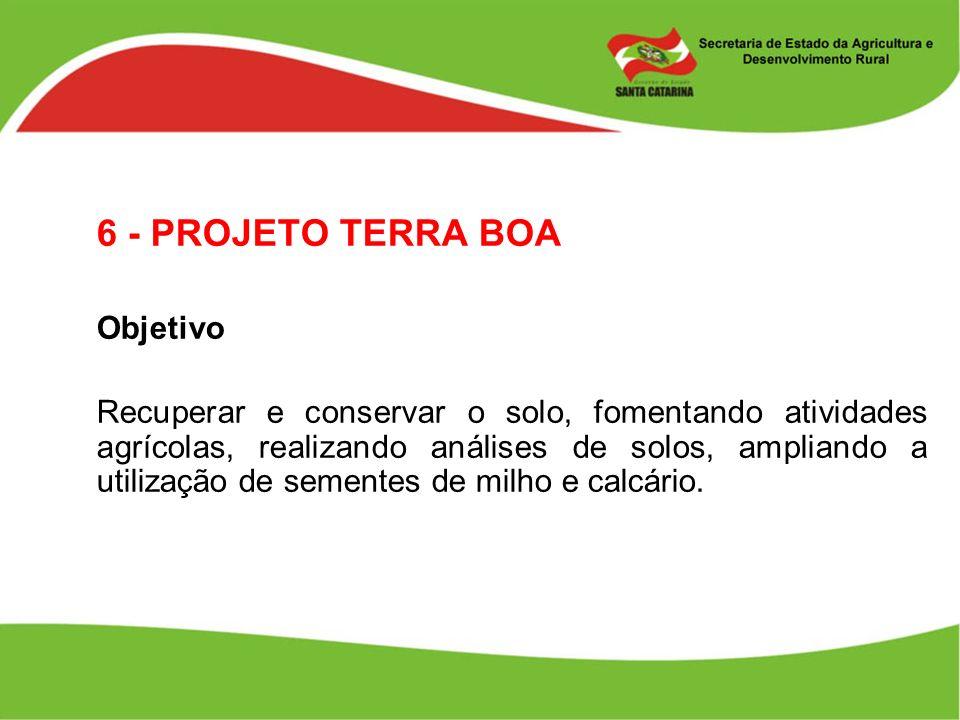 6 - PROJETO TERRA BOA Objetivo Recuperar e conservar o solo, fomentando atividades agrícolas, realizando análises de solos, ampliando a utilização de