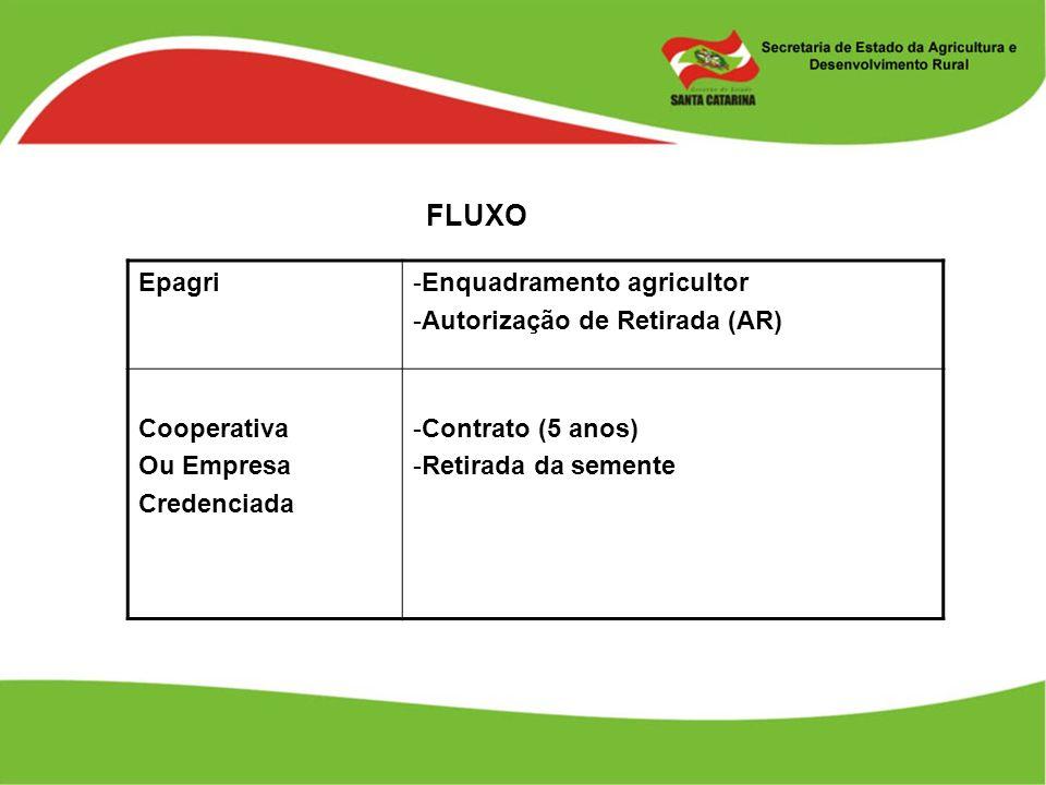 FLUXO Epagri-Enquadramento agricultor -Autorização de Retirada (AR) Cooperativa Ou Empresa Credenciada -Contrato (5 anos) -Retirada da semente