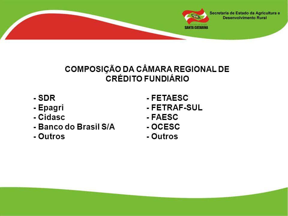 COMPOSIÇÃO DA CÂMARA REGIONAL DE CRÉDITO FUNDIÁRIO - SDR - FETAESC - Epagri - FETRAF-SUL - Cidasc - FAESC - Banco do Brasil S/A - OCESC - Outros - Out