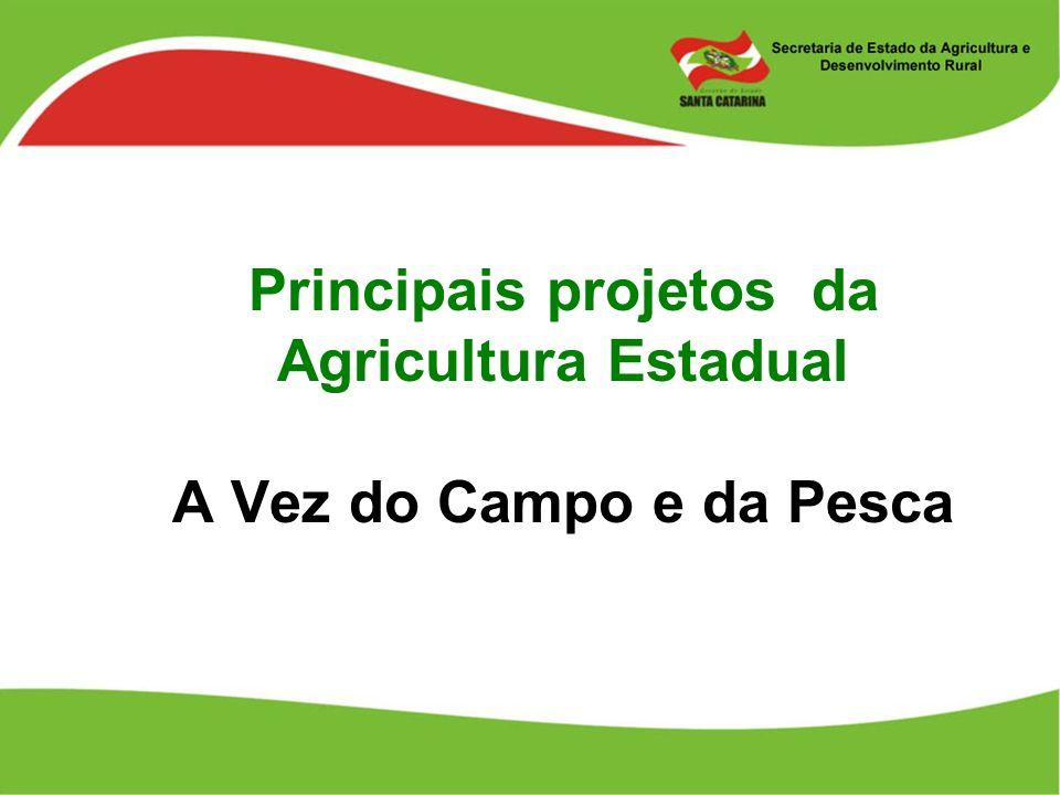 Principais projetos da Agricultura Estadual A Vez do Campo e da Pesca