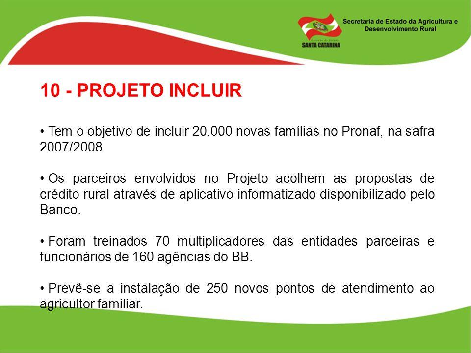 10 - PROJETO INCLUIR Tem o objetivo de incluir 20.000 novas famílias no Pronaf, na safra 2007/2008. Os parceiros envolvidos no Projeto acolhem as prop