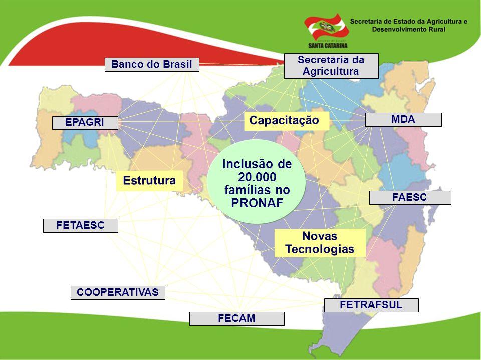 Inclusão de 20.000 famílias no PRONAF Capacitação Novas Tecnologias FAESC FECAM EPAGRI Banco do Brasil FETAESC FETRAFSUL COOPERATIVAS MDA Secretaria d