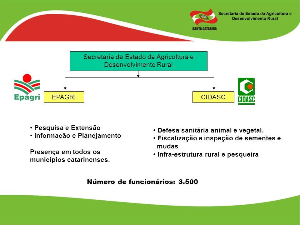 Secretaria de Estado da Agricultura e Desenvolvimento Rural EPAGRICIDASC Pesquisa e Extensão Informação e Planejamento Presença em todos os municípios