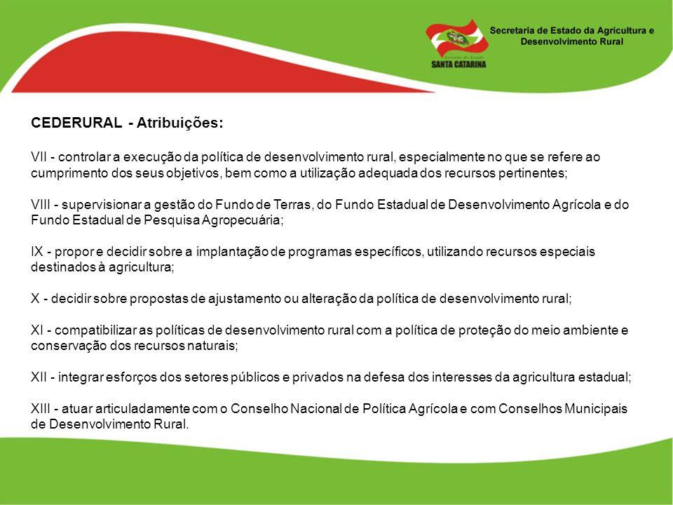 CEDERURAL - Atribuições: VII - controlar a execução da política de desenvolvimento rural, especialmente no que se refere ao cumprimento dos seus objet