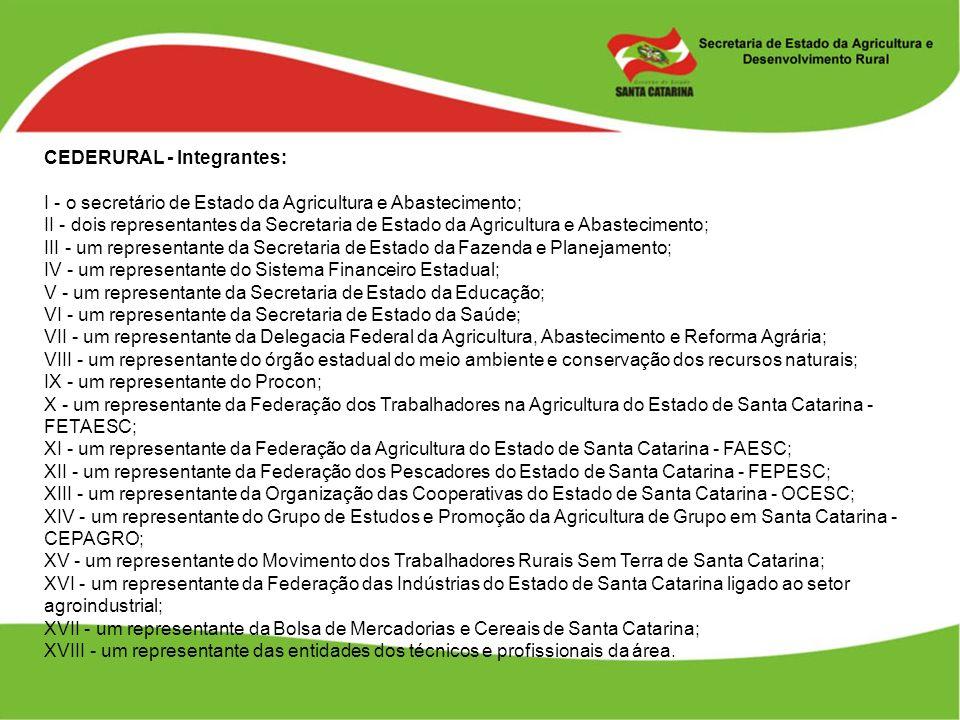 CEDERURAL - Integrantes: I - o secretário de Estado da Agricultura e Abastecimento; II - dois representantes da Secretaria de Estado da Agricultura e