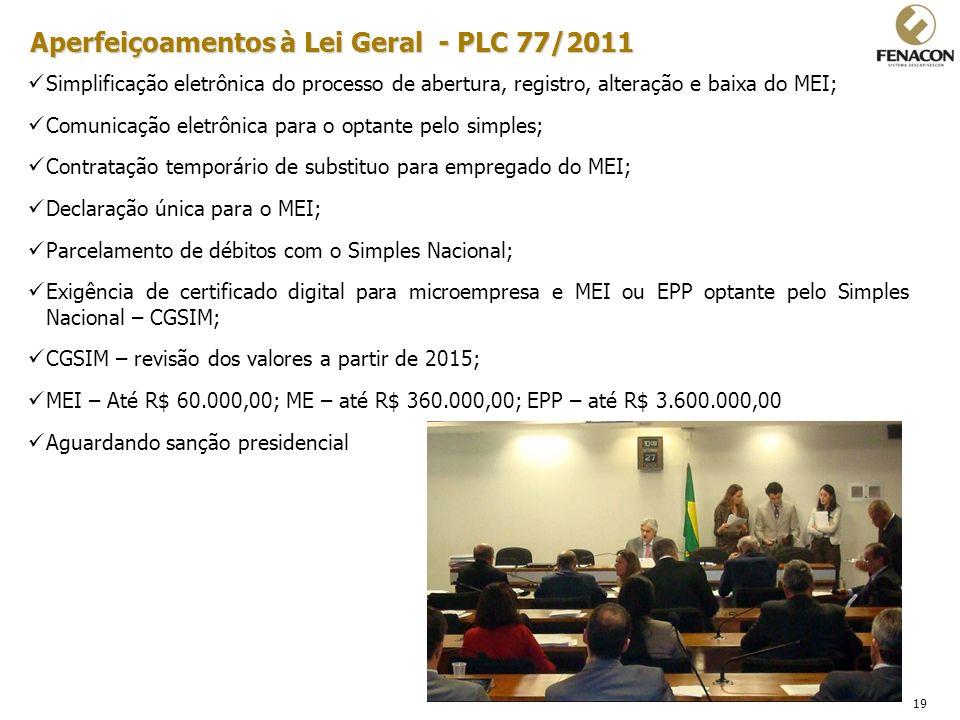19 Aperfeiçoamentos à Lei Geral - PLC 77/2011 Simplificação eletrônica do processo de abertura, registro, alteração e baixa do MEI; Comunicação eletrô