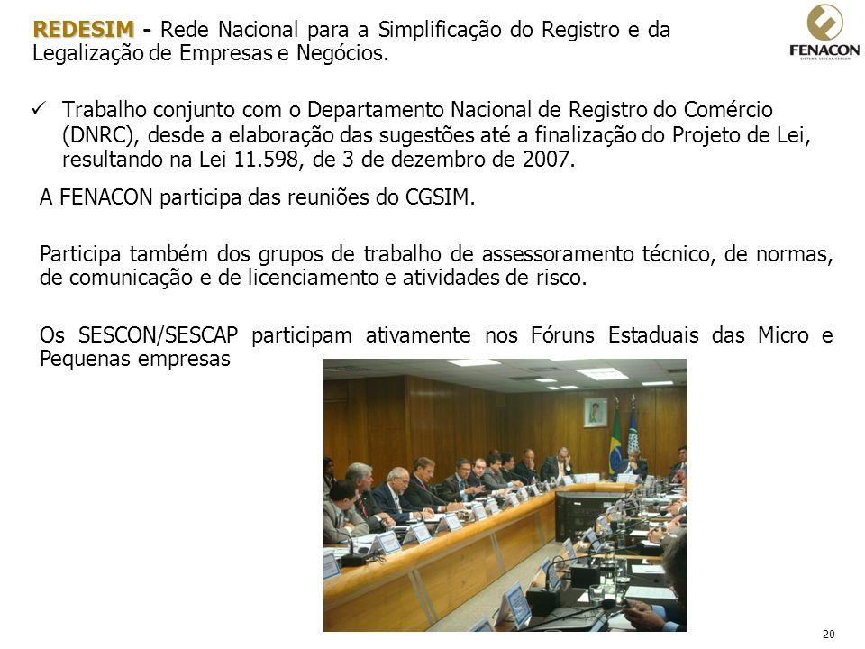 20 Trabalho conjunto com o Departamento Nacional de Registro do Comércio (DNRC), desde a elaboração das sugestões até a finalização do Projeto de Lei,