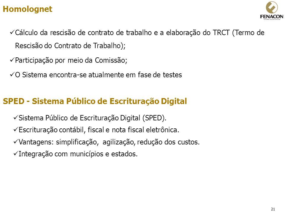 21 Homolognet Cálculo da rescisão de contrato de trabalho e a elaboração do TRCT (Termo de Rescisão do Contrato de Trabalho); Participação por meio da