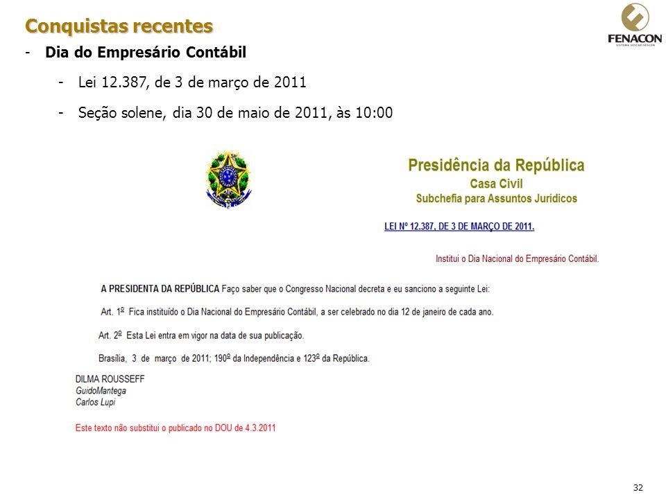 32 Conquistas recentes -Dia do Empresário Contábil -Lei 12.387, de 3 de março de 2011 -Seção solene, dia 30 de maio de 2011, às 10:00